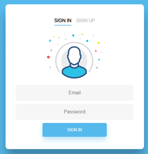 Shows design of login form