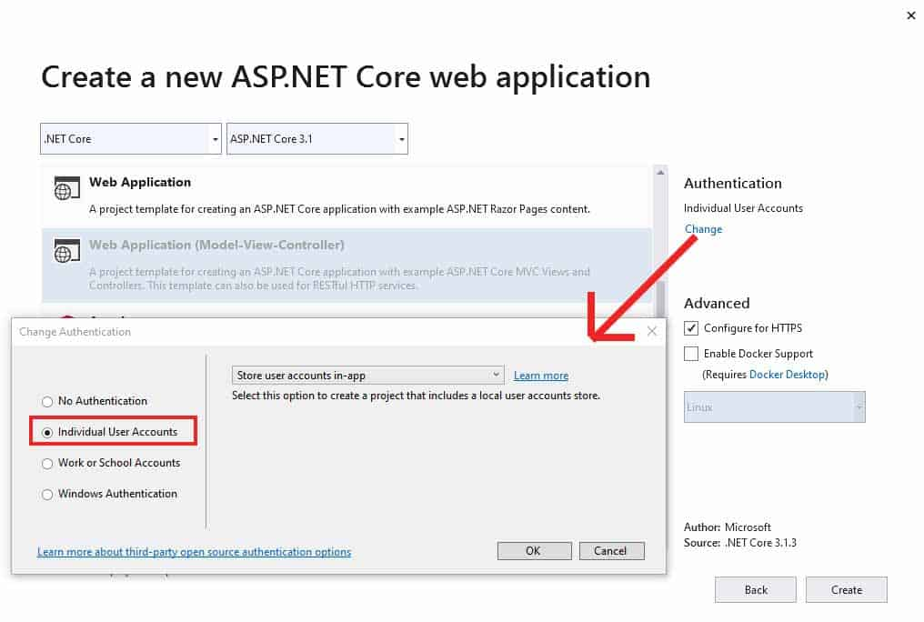 Showing how to add ASP.NET Identity to an MVC Project while creating it.