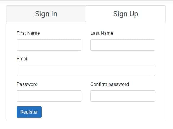 Image showing user registration form after customization