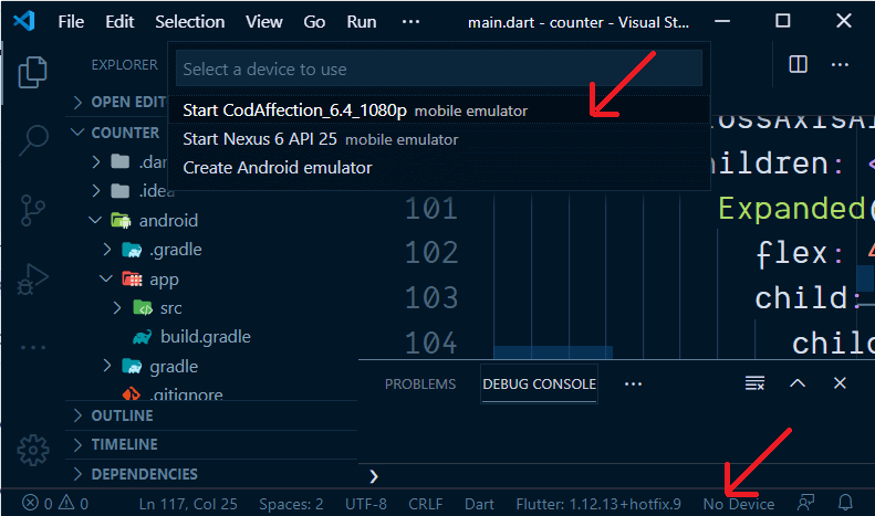 How to open Emulator from Visual Studio