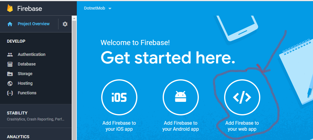 firebase project overview - click on Add Firebase to your web app