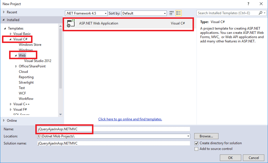Image Showing Creation Of Asp.Net MVC Project