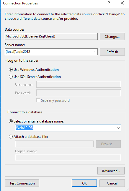 Provide SQL Server Connection Details and DB Name