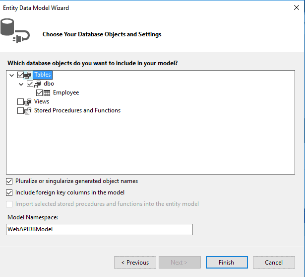 Select Tables for Entity Model