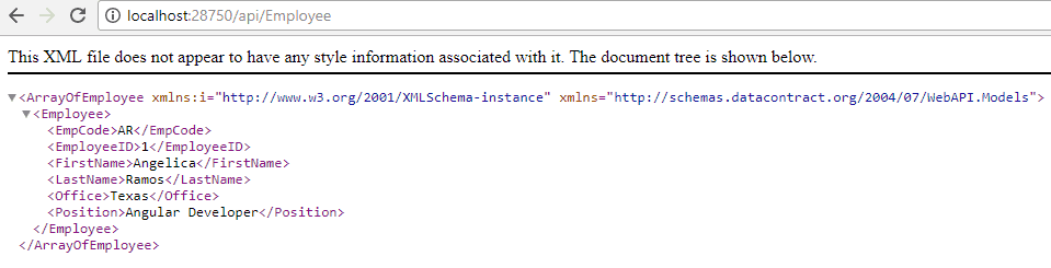 View Employee Collection from DB through Web API