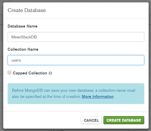 Image Showing Creation MongoDB Database