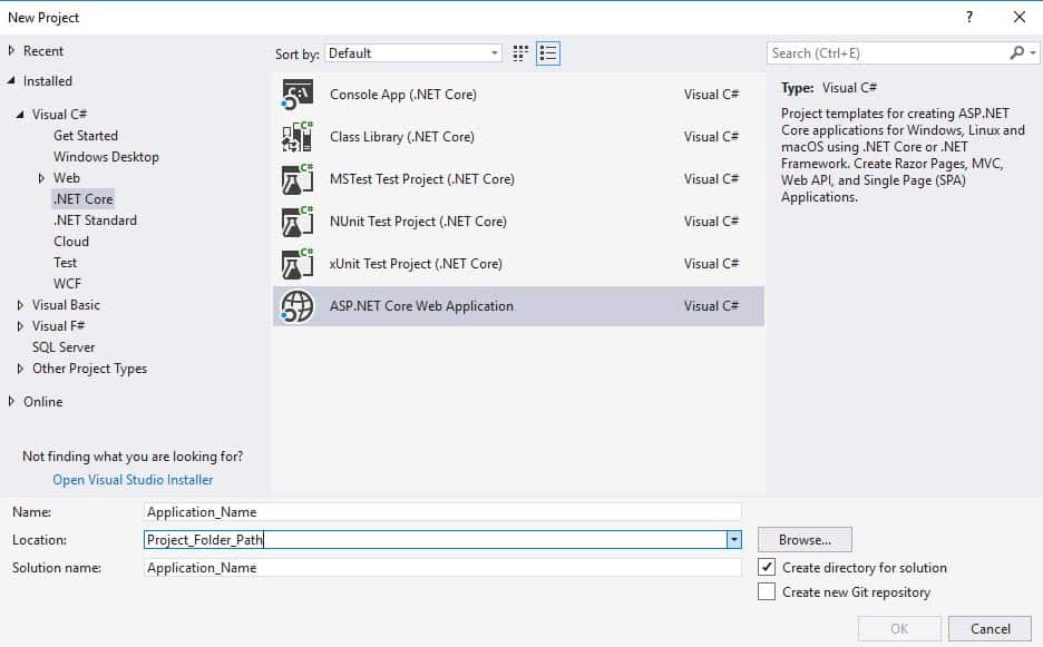 Image Showing Creation of Asp.Net Core Web Application.