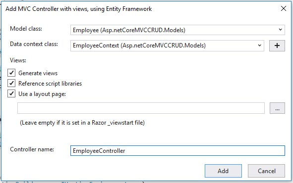 Image showing creation of MVC Controller in Asp.Net core for CRUD operations.