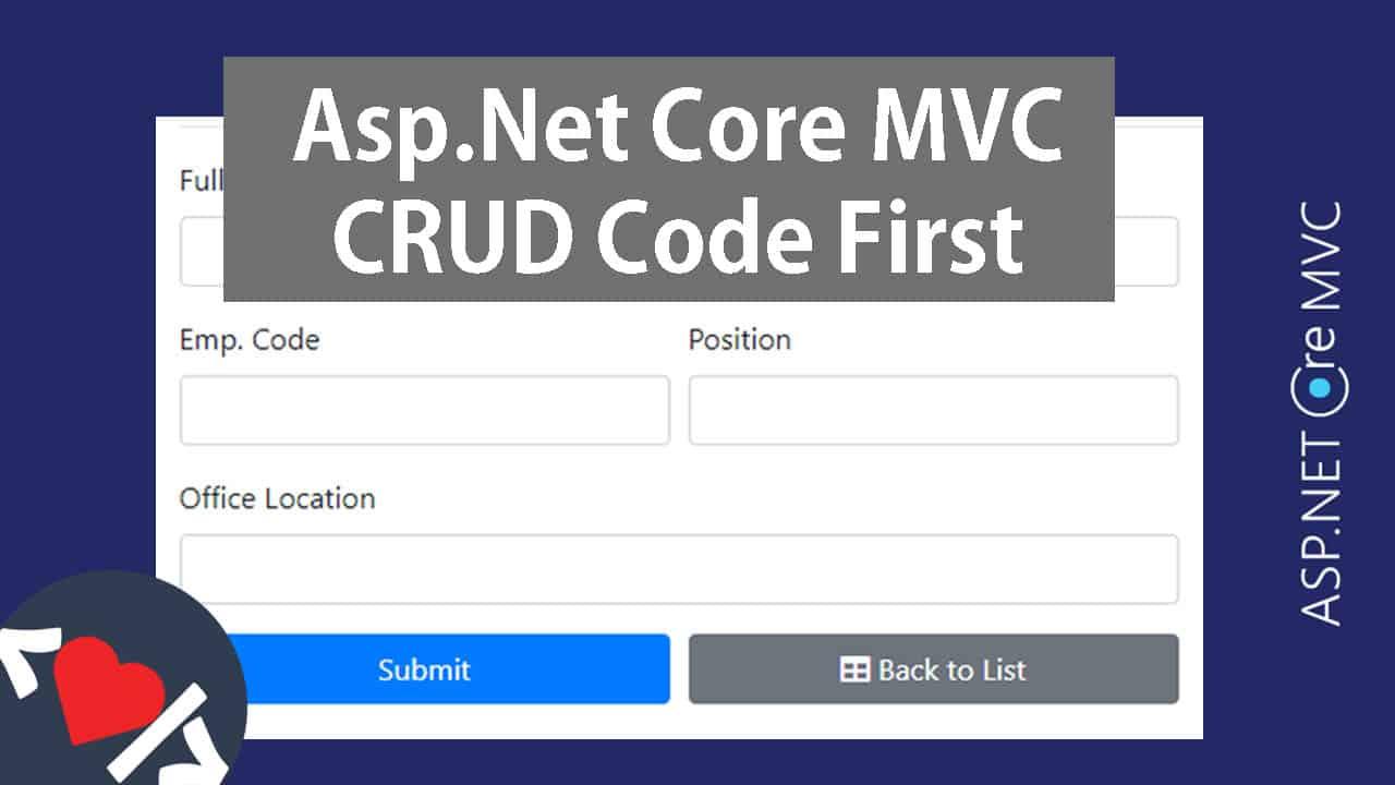 Asp.Net Core MVC CRUD with EF Core