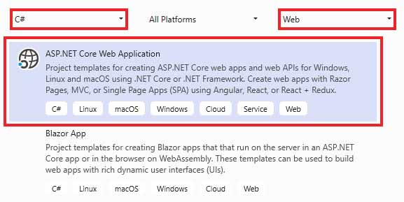 Image showing how to create ASP.NET Core Web API project in Visual Studio.