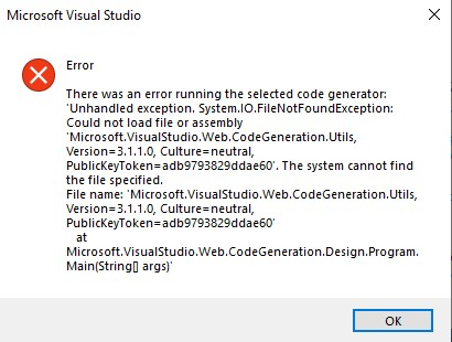 Error commonly shown while creating scaffolded controller in visual studio.