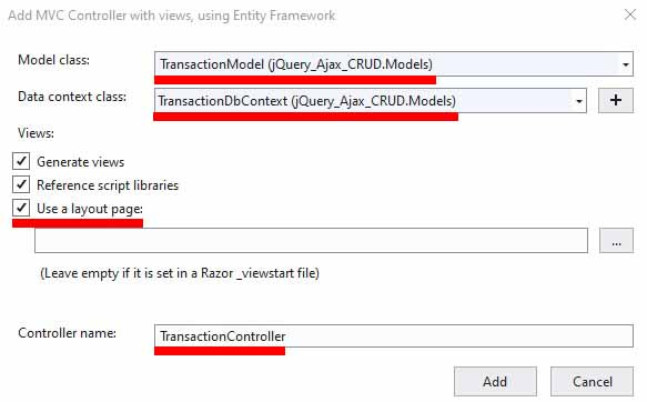 showing how to create an ASP.NET Core controller with actions and views using EF Core