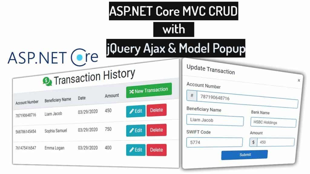 How to Use jQuery Ajax in Asp.Net Core MVC for CRUD Operations with Modal Popup
