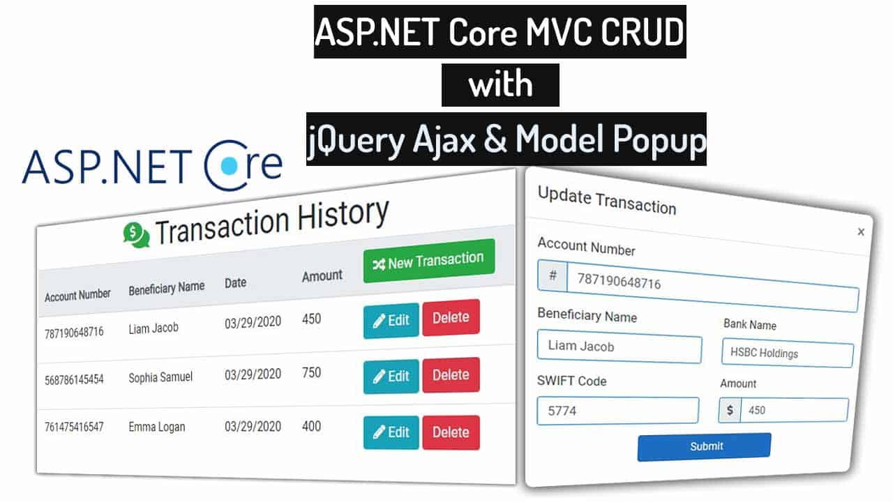 jQuery Ajax CRUD in ASP.NET Core MVC with Modal Popup   CodAffection
