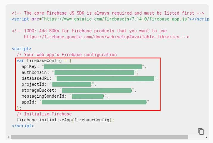 firebase configuration to be copied