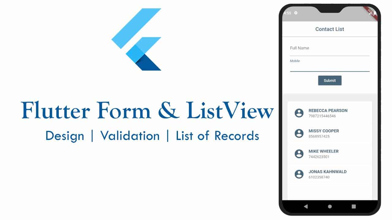 How to design Flutter Form and list insert records in ListView widget