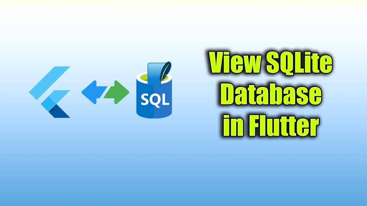 View SQLite DB in Flutter Application