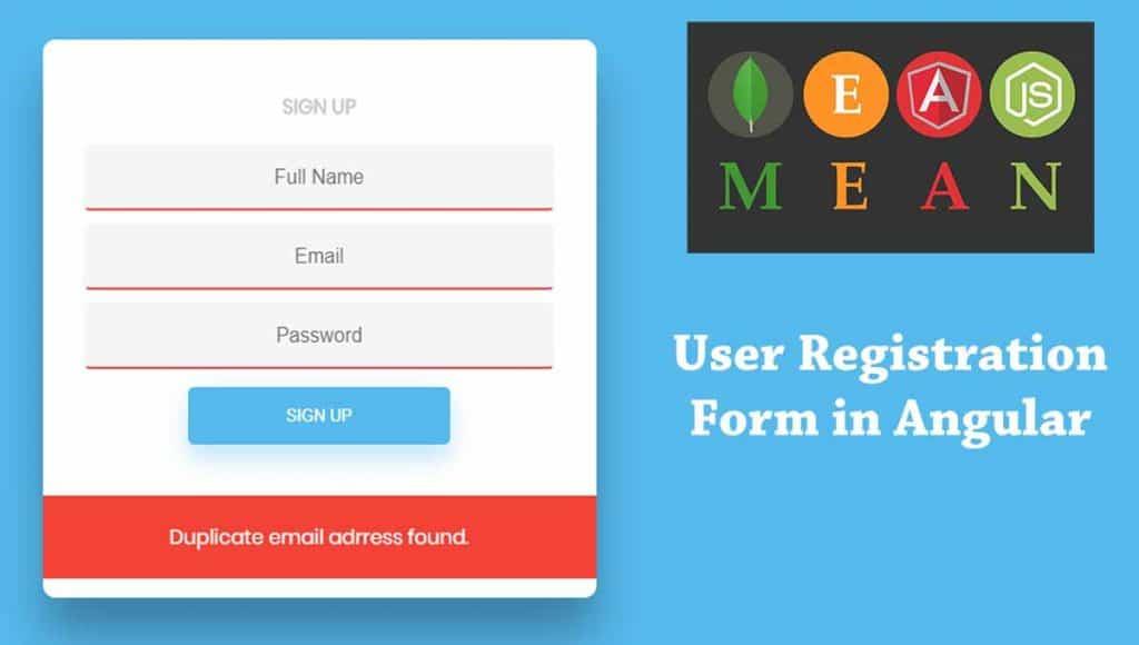 Design Angular User Registration Form in MEAN Stack