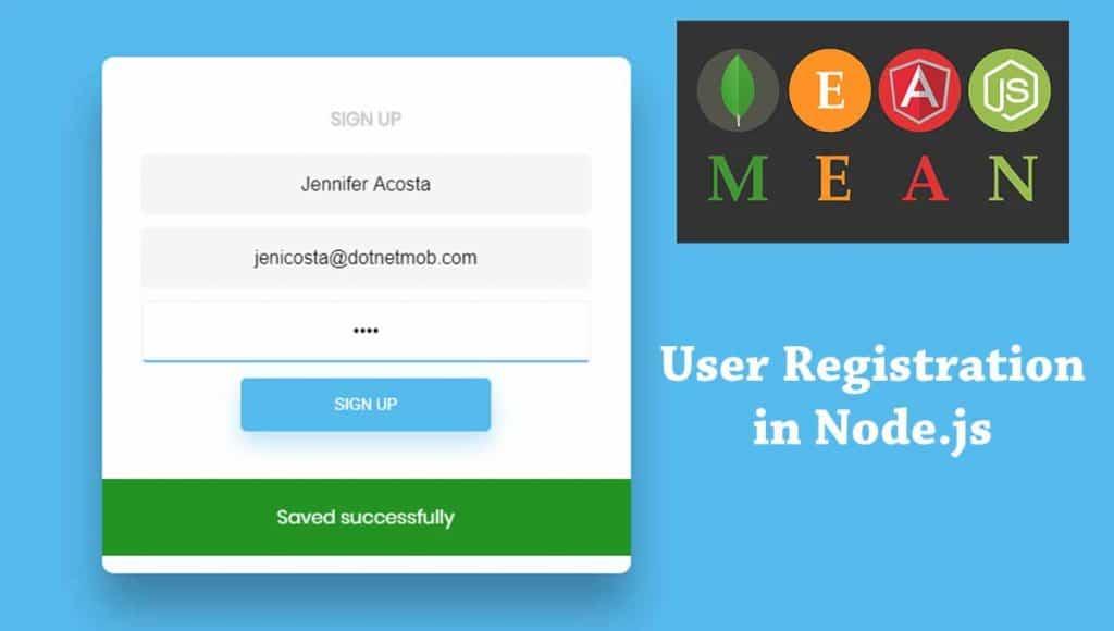 Nodejs user registration in MEAN Stack