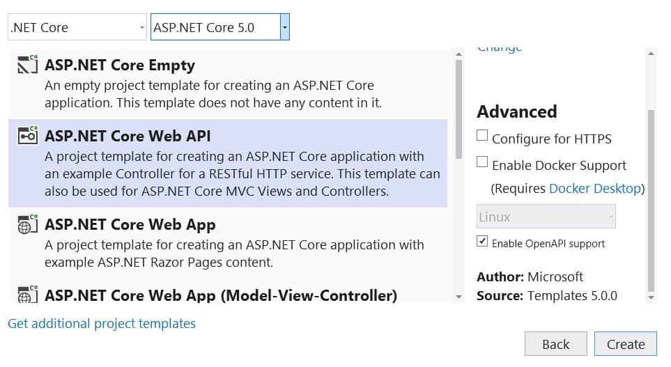 Visual Studio Window showing creation of Asp.Net Core Web API Project.